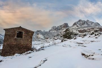 Esterel mountains under snow,  Var department, France