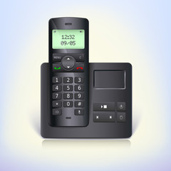 Wireless telephone phone with answering machine and base on a
