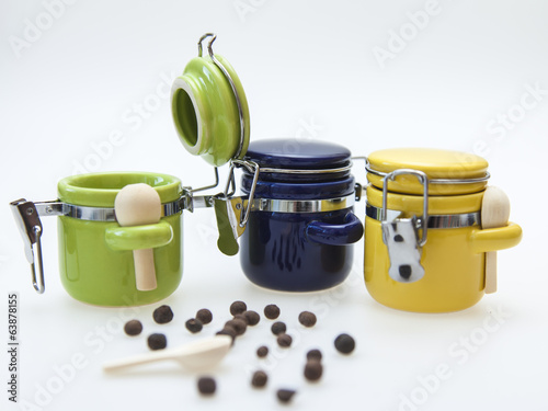 Colorful ceramic containers for spices