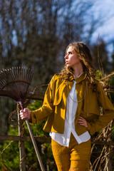 Woman and rake
