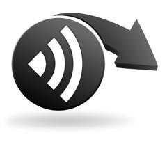 ondes sur symbole noir