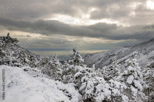Esterel mountains under snow,  Var department, France