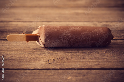 Ice cream on wooden background