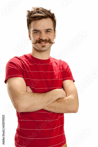 Man in red striped shirt