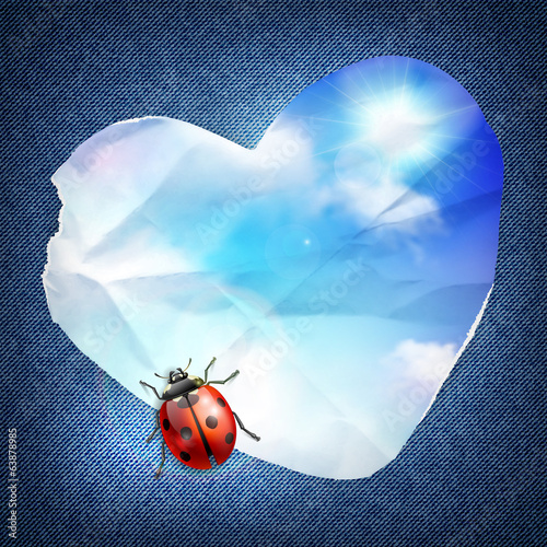 Denim background with heart, sky and ladybug, card template