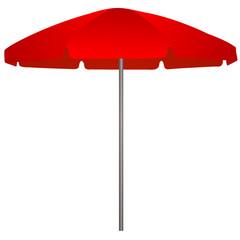 Illustration of red beach umbrella on white background