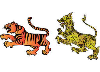 Tiger and lion in literary of Thailand