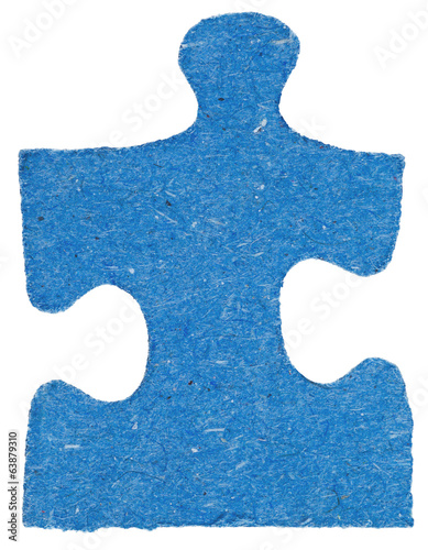one blue tile of jigsaw puzzle