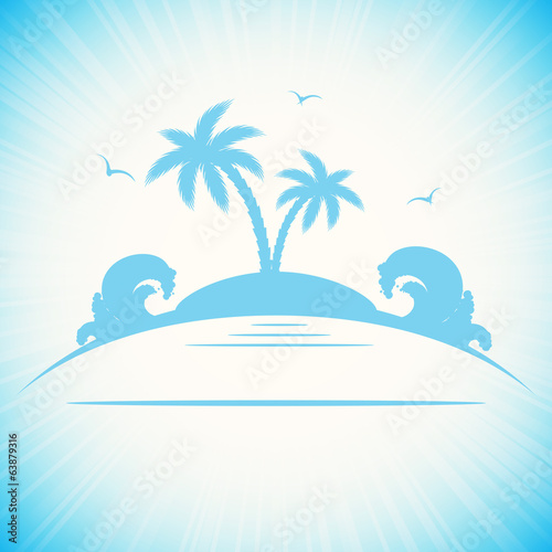 Palm island on blue background