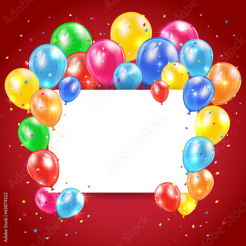 Balloons and card on red background