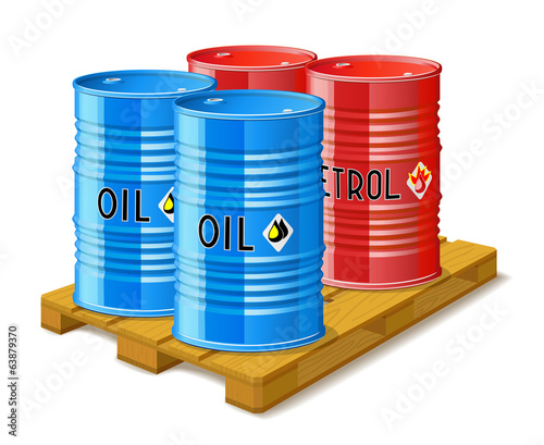 Wooden pallet and metal barrels with oil and petrol.