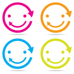 beautiful popular smile happy arrow sign symbol icon set circle