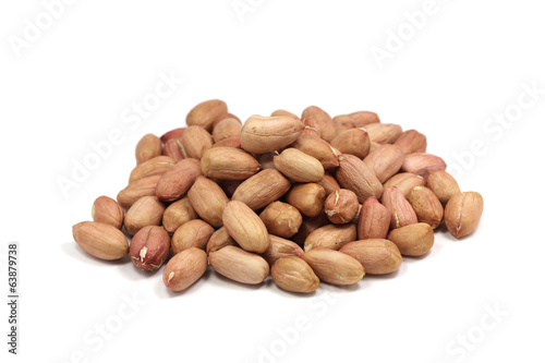 a handful of peanut kernels isolated on white background