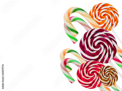 Lollipops isolated on white with space for text.