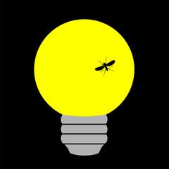Bombilla amarilla con mosquito