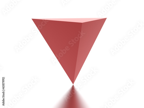 Red reflection pyramid rendered