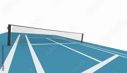 Blue tennis court isolated on white