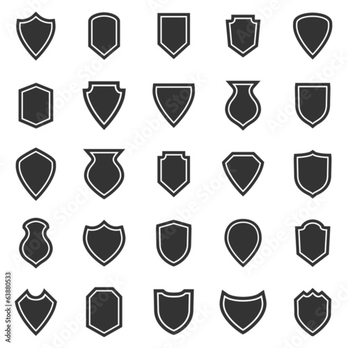 Shield icons on white background