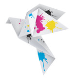 Origami dove with splashes of ink