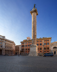 Piazza Colonna with column of Marcus Aurelius. Rome. Italy.