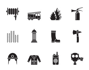 Silhouette fire-brigade and fireman equipment icons