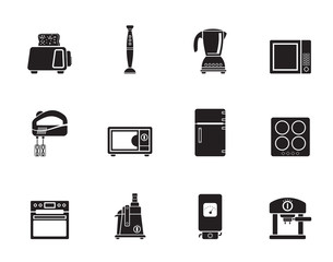 Silhouette Kitchen and home equipment icons