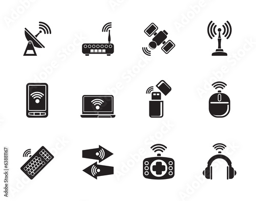 Silhouette Wireless and communication technology icons