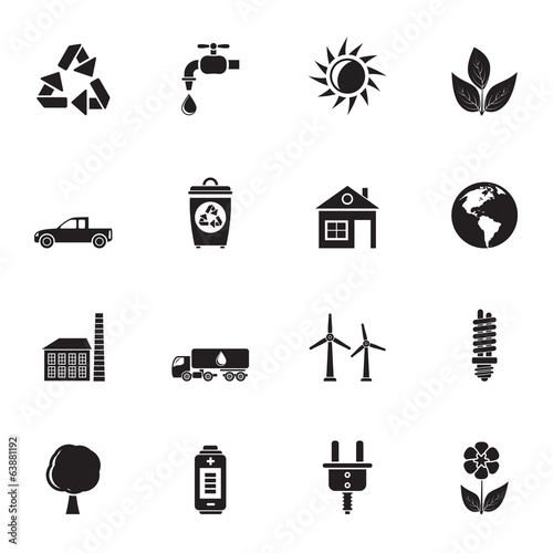 Silhouette ecology and environment icons