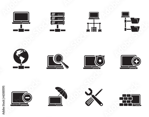 Silhouette Network, Server and Hosting icons