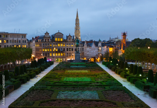 Brussels old town cityscape at night