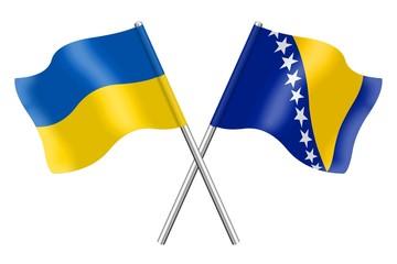 Flags: Ukraine and Bosnia-Herzegovina