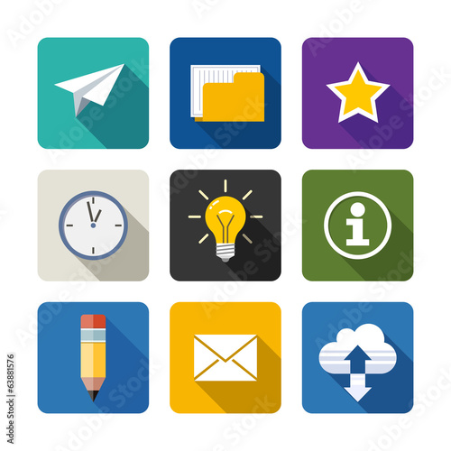 Web. Set of flat long shadow icons. Eps10 vector illustration.