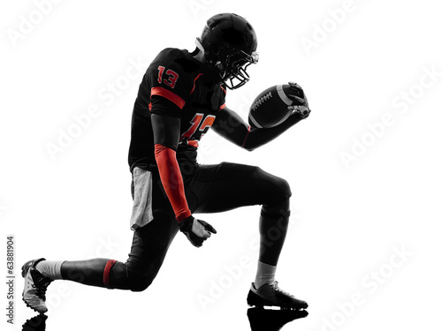 american football player joyful celebrating  silhouette