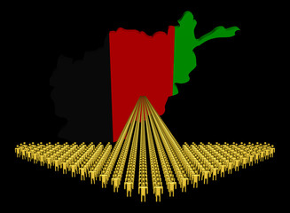 Arrow of people with Afghanistan map flag illustration