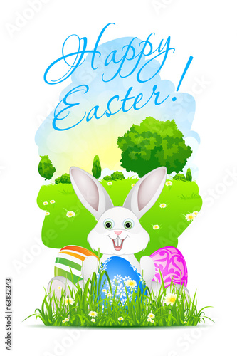 Easter Card with Landscape, Rabbit and Decorated Eggs