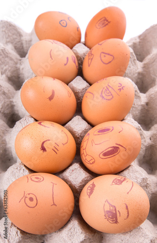 Expressions On Chicken Eggs Face