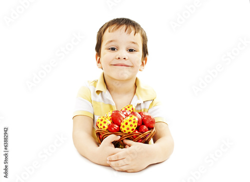 Child with Easter eggs. Isolated on white background