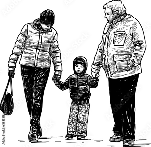 kid, mother and grandfather
