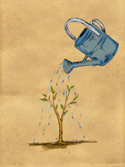 Watering Plant water color on Paper