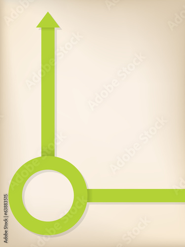 Green arrow and circle shaped ribbon