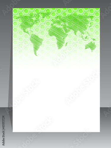 Simplistic brochure design with green pattern and map