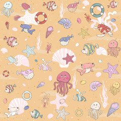 Seamless sea pattern .Vector illustration.