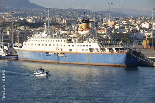 Old Cruise Ship in the harbor of Iraklio on Crete