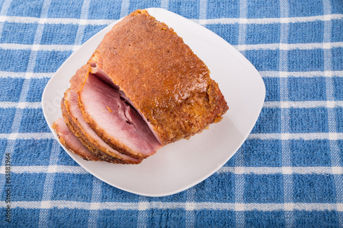 Honey Baked Ham Sliced on White Plate