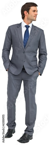 Handsome businessman in grey suit