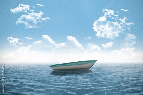 Small boat in the ocean