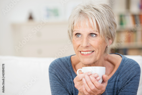 ältere dame mit einer tasse tee - 63884578