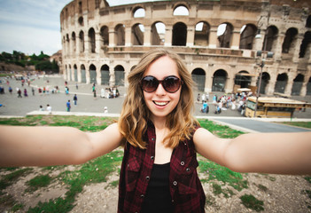 Pretty young female tourist in Rome, Italy