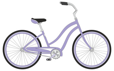 Retro woman sport bicycle on a white background, vector