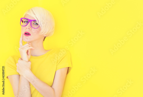 portrait of a girl on a bright background